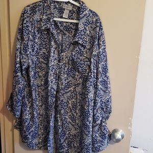 Catherine's Button Up Blue Print Blouse